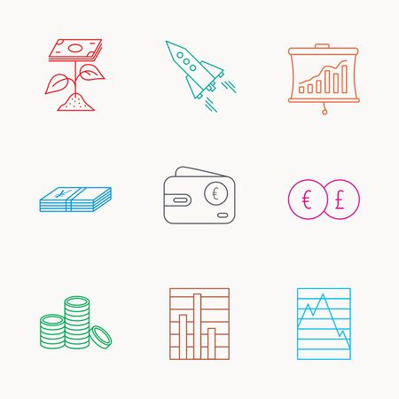 deceleration: Profit investment, cash money and startup rocket icons. Wallet, currency exchange and euro linear signs. Chart, coins and statistics icons. Linear colored icons.