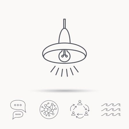 ceiling light: Ceiling lamp icon. Light illumination sign. Global connect network, ocean wave and chat dialog icons. Teamwork symbol.