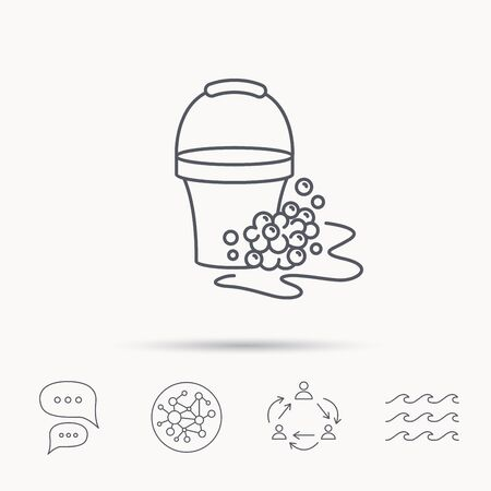 soapy: Soapy cleaning icon. Bucket with foam and bubbles sign. Global connect network, ocean wave and chat dialog icons. Teamwork symbol.