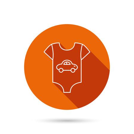 car clothes: Newborn clothes icon. Baby shirt wear sign. Car symbol. Round orange web button with shadow. Illustration