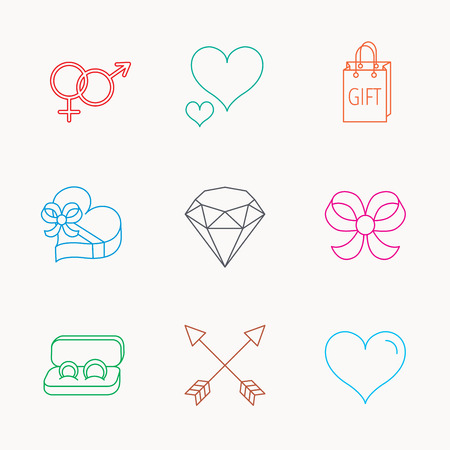 amour: Love heart, gift box and wedding rings icons. Bow and engagement linear signs. Valentine amour arrows, brilliant flat line icons. Linear colored icons. Illustration