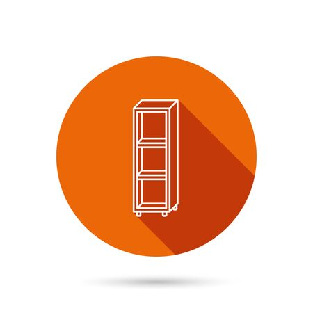 shelving: Empty shelves icon. Shelving sign. Round orange web button with shadow. Illustration