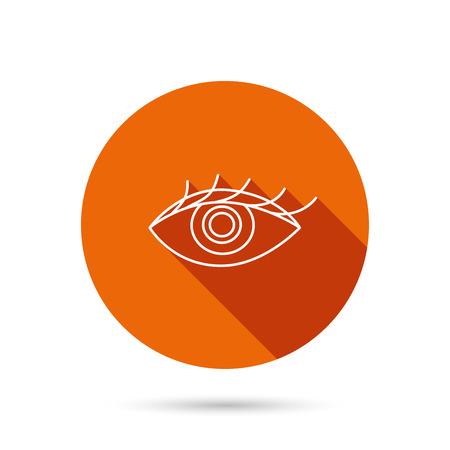 human eye: Eye icon. Human vision sign. Ophthalmology symbol. Round orange web button with shadow.