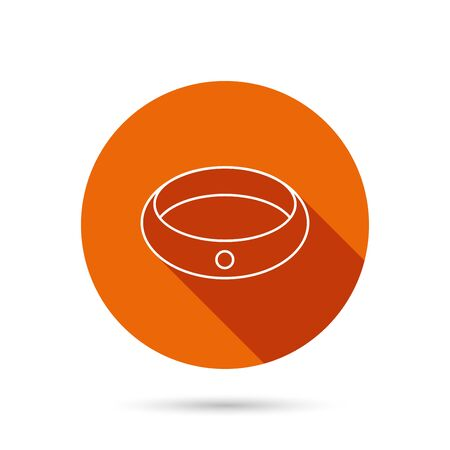 web engagement: Diamond engagement ring icon. Jewelery sign. Round orange web button with shadow.