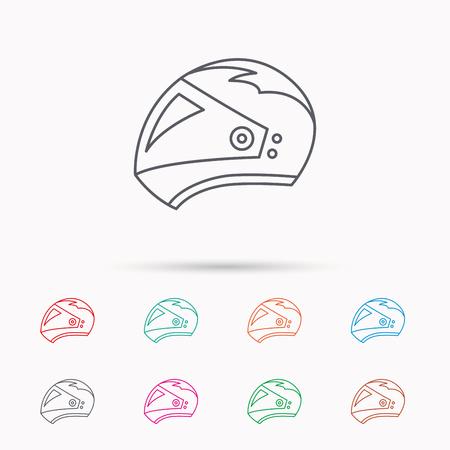harley: Motorcycle helmet icon. Biking sport sign. Linear icons on white background. Illustration