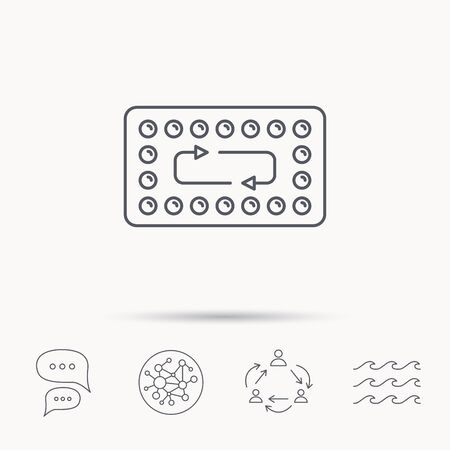 hormonal: Contraception pills icon. Pharmacology drugs sign. Global connect network, ocean wave and chat dialog icons. Teamwork symbol.
