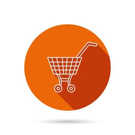 affiliation: Shopping cart icon. Market buying sign. Round orange web button with shadow.