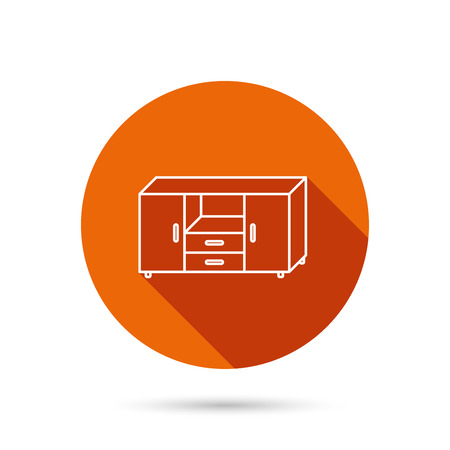 drawers: Chest of drawers icon. Interior commode sign. Round orange web button with shadow.