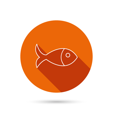 aquaculture: Fish icon. Seafood sign. Vegetarian food symbol. Round orange web button with shadow. Illustration