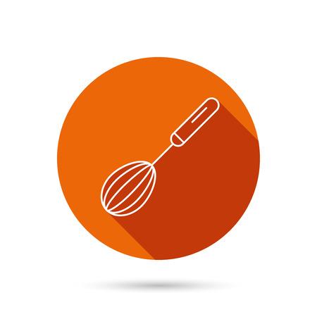 whisking: Whisk icon. Kitchen tool sign. Kitchenware whisking beater symbol. Round orange web button with shadow. Illustration