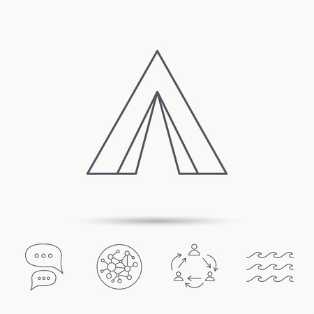 wave tourist: Tourist tent icon. Camping travel hike sign. Global connect network, ocean wave and chat dialog icons. Teamwork symbol. Illustration