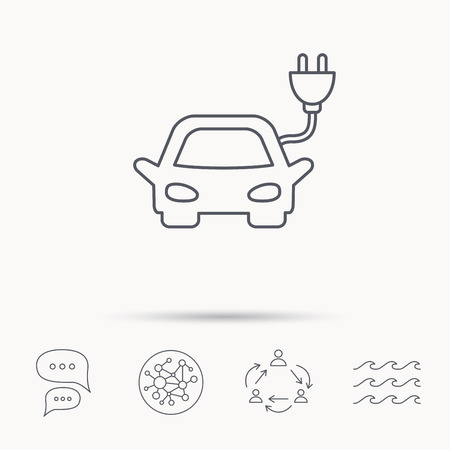 hybrid: Electric car icon. Hybrid auto transport sign. Global connect network, ocean wave and chat dialog icons. Teamwork symbol. Illustration