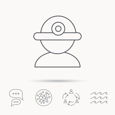 industrialist: Worker icon. Engineering helmet sign. Global connect network, ocean wave and chat dialog icons. Teamwork symbol. Illustration