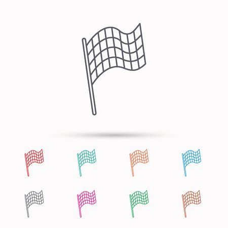 finish flag: Finish flag icon. Start race sign. Linear icons on white background. Illustration