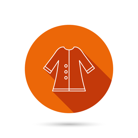outerwear: Cloak icon. Protection jacket outerwear sign. Gardening clothes symbol. Round orange web button with shadow. Illustration