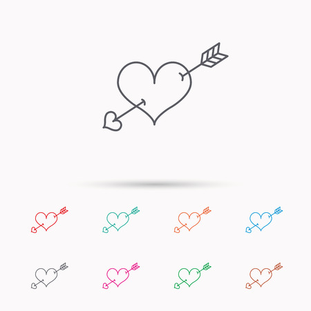 february 1: Love heart icon. Amour arrow sign. Linear icons on white background.