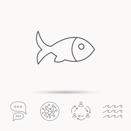 aquaculture: Fish with fin icon. Seafood sign. Vegetarian food symbol. Global connect network, ocean wave and chat dialog icons. Teamwork symbol.
