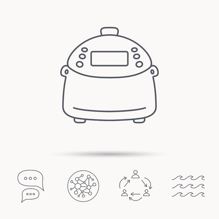 kitchen device: Multicooker icon. Kitchen electric device symbol. Global connect network, ocean wave and chat dialog icons. Teamwork symbol.