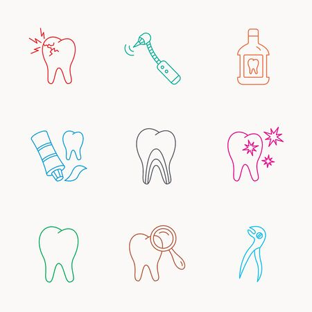 mouthwash: Diente, estomatolog�a y los iconos dolor de muelas. Enjuague bucal, alicates dentales y signos diagn�sticos lineales. t�bulos de la dentina, los iconos de perforaci�n. Lineal iconos de colores.
