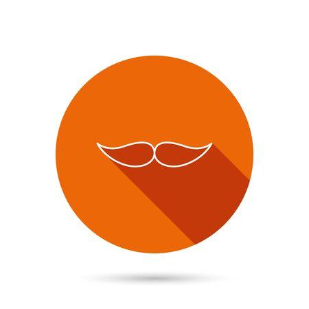 gent: Mustache icon. Hipster symbol. Gentleman sign. Round orange web button with shadow.