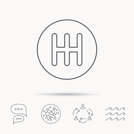 gearbox: Manual gearbox icon. Car transmission sign. Global connect network, ocean wave and chat dialog icons. Teamwork symbol. Illustration