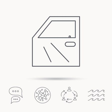bodywork: Car door icon. Automobile lock sign. Global connect network, ocean wave and chat dialog icons. Teamwork symbol. Illustration