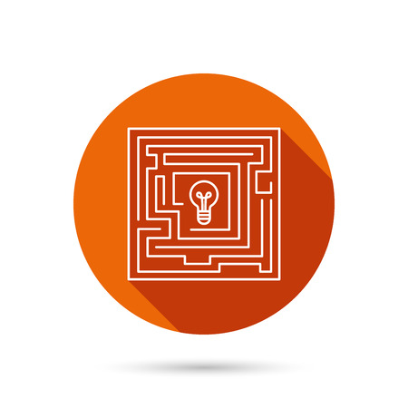 logical: Labyrinth icon. Problem challenge sign. Find solution symbol. Round orange web button with shadow.