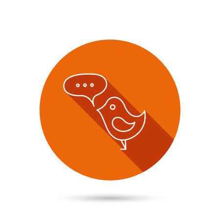 fowl: Bird with speech bubble icon. Chat talk sign. Cute small fowl symbol. Round orange web button with shadow.