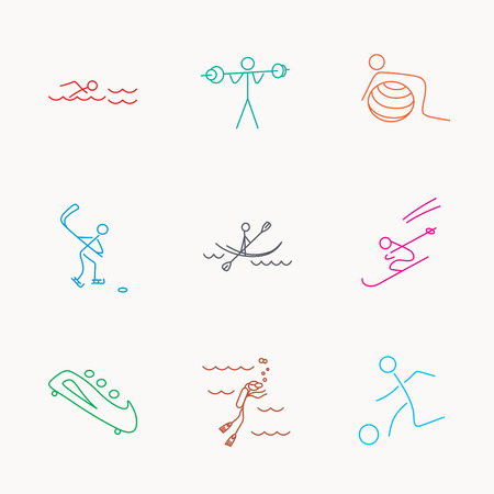bobsleigh: Swimming, football and skiing icons. Ice hockey, diving and gymnastics linear signs. Kayaking, weightlifting and bobsleigh icons. Linear colored icons. Illustration
