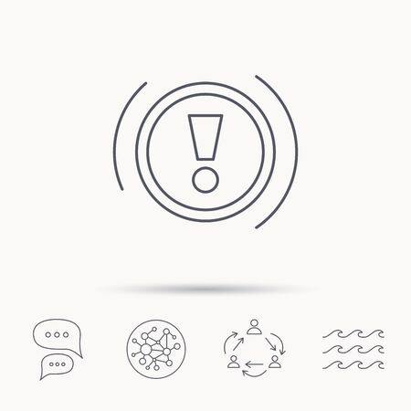dashboard: Warning icon. Dashboard attention sign. Caution exclamation mark symbol. Global connect network, ocean wave and chat dialog icons. Teamwork symbol. Illustration