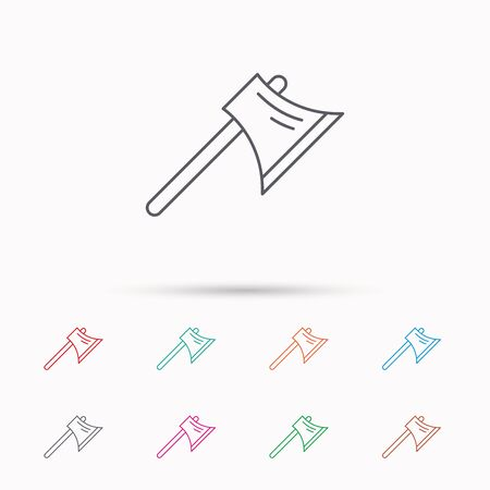 steel worker: Axe icon. Worker equipment sign. Steel weapon symbol. Linear icons on white background.