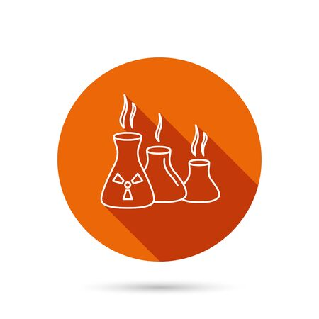 hazardous metals: Industry building icon. Manufacturing sign. Chemical toxic production symbol. Round orange web button with shadow.