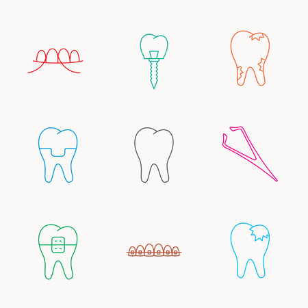 fillings: Dental implant, floss and tooth icons. Braces, fillings and tweezers linear signs. Caries icon. Linear colored icons. Illustration