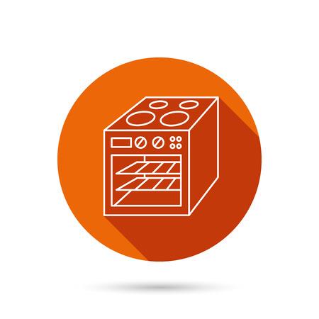 Icône du four Panneau de cuisinière électrique. Bouton web orange rond avec une ombre.