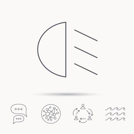 dipped: Passing light icon. Dipped beam sign. Global connect network, ocean wave and chat dialog icons. Teamwork symbol.