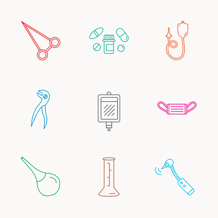 enema: Medical mask, blood and dental pliers icons. Pills, drilling tool and clyster linear signs. Enema, lab beaker and forceps flat line icons. Linear colored icons. Illustration