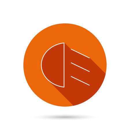 dipped: Passing light icon. Dipped beam sign. Round orange web button with shadow.