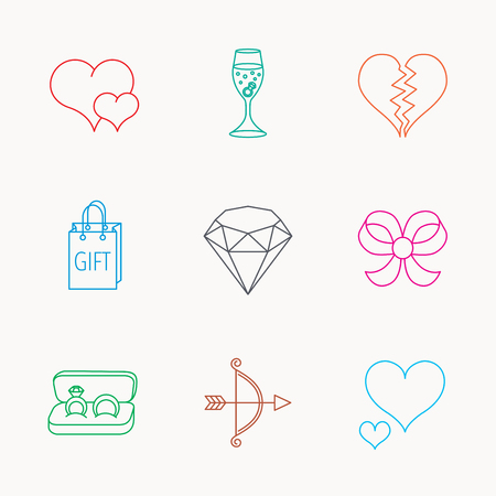 shopping champagne: Love heart, gift box and wedding rings icons. Broken heart and engagement linear signs. Valentine amour arrow, brilliant flat line icons. Linear colored icons. Illustration