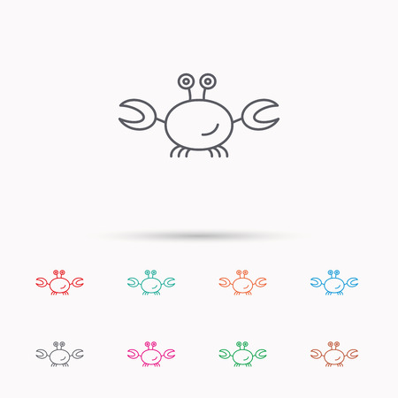 cancer crab: Crab icon. Cancer shellfish sign. Wildlife symbol. Linear icons on white background.