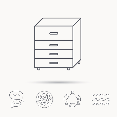 chest of drawers: Chest of drawers icon. Interior commode sign. Global connect network, ocean wave and chat dialog icons. Teamwork symbol.
