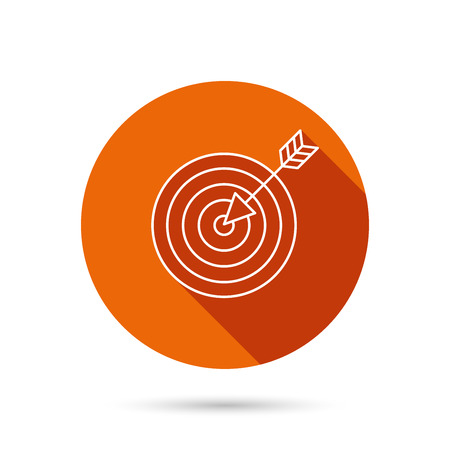 intent: Target with arrow icon. Dart aim sign. Round orange web button with shadow.