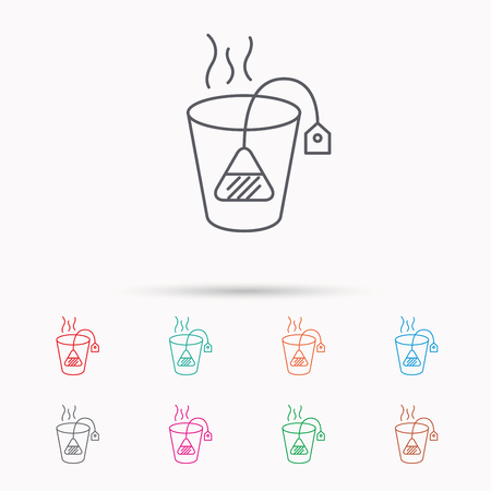 ceylon: Tea bag icon. Natural hot drink sign. Breakfast beverage symbol. Linear icons on white background.