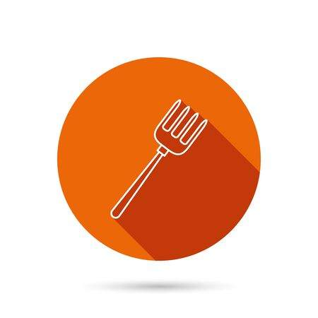 menu land: Pitchfork icon. Agriculture sign symbol. Round orange web button with shadow.
