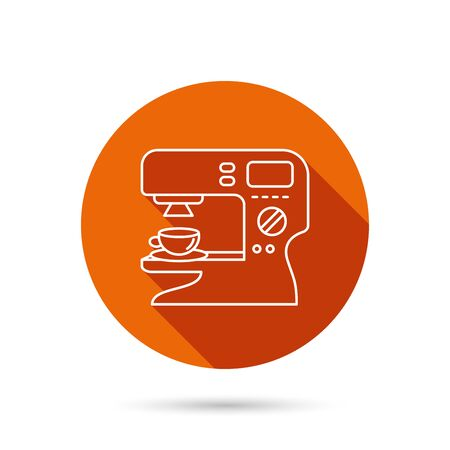 sign maker: Coffee maker icon. Hot drink machine sign. Round orange web button with shadow. Illustration