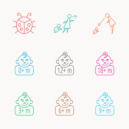 12 18 months: Infant child, ladybug and toddler baby icons. 0-18 months child linear signs. Unattended, parents supervision icons. Linear colored icons.