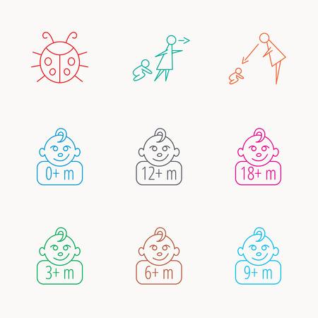 supervision: Niño infantil, mariquita y bebé niño iconos. 0-18 meses signos lineales niño. Desatendido, iconos padres de supervisión. Lineal iconos de colores.