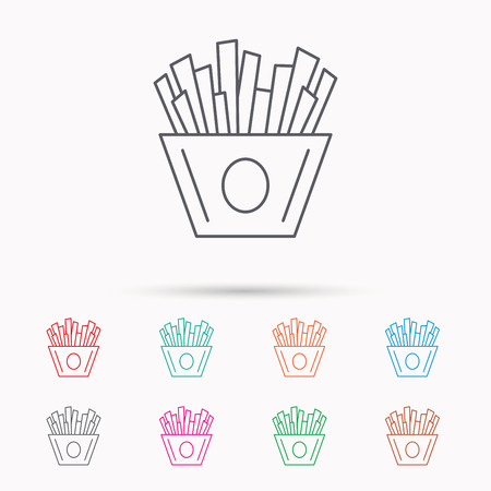 fried potatoes: Chips icon. Fries fast food sign. Fried potatoes symbol. Linear icons on white background.