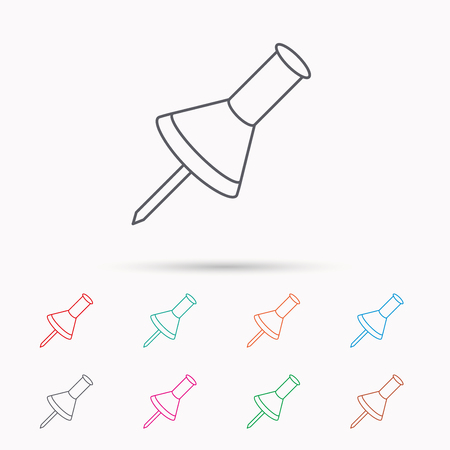 Pushpin icon. Pin tool sign. Office stationery symbol. Linear icons on white background.