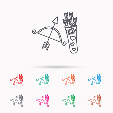 amour: Amour arrows and bow icon. Valentine weapon sign. Linear icons on white background.