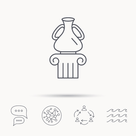 antique vase: Museum icon. Antique vase on pillar sign. Global connect network, ocean wave and chat dialog icons. Teamwork symbol.
